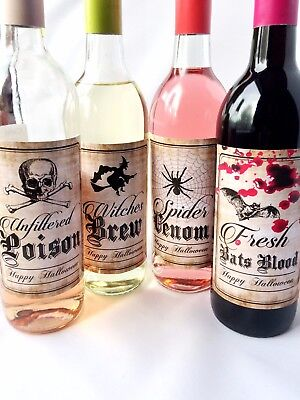 SET OF 4 HALLOWEEN PARTY WINE BOTTLE LABELS, BATS BLOOD, WITCHES BREW, POISON  ](Poison Bottle Labels Halloween)