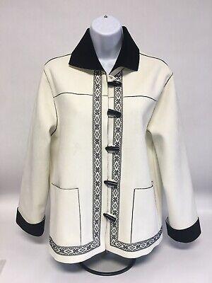 ALFRED DUNNER Ladies Petite Suede Jacket -Winter White/Black Trim Trim Moleskin