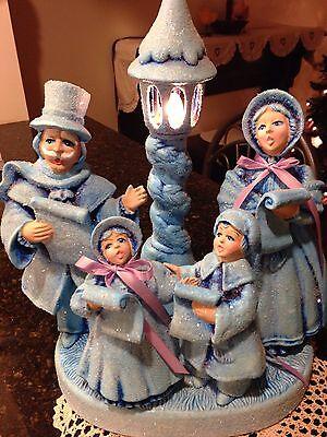 "Vintage RARE Lighted Ceramic Christmas Carolers W/Music Box ""PRETTY"""