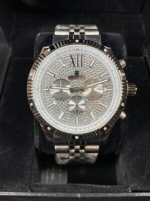 Men's Ice Time Genuine Diamond Watch 45mm Stainless Steel Royal Steel Diamond Casual Watch