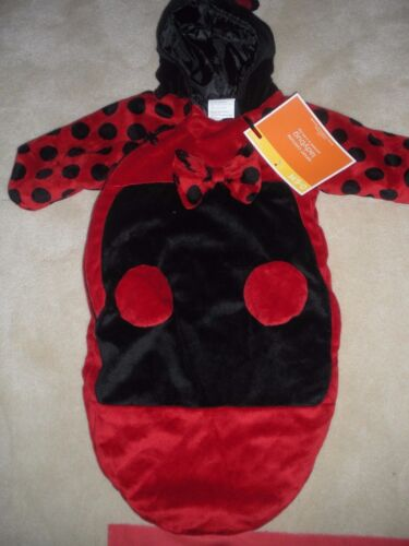 Ladybug Lined Plush Zip Hooded Bunting Style Infant Costume Size 0-6 Mo New W/t