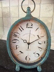 13 H Distressed TURQUOISE Tabletop Clock.Finish & hammered Texture.Home Decor