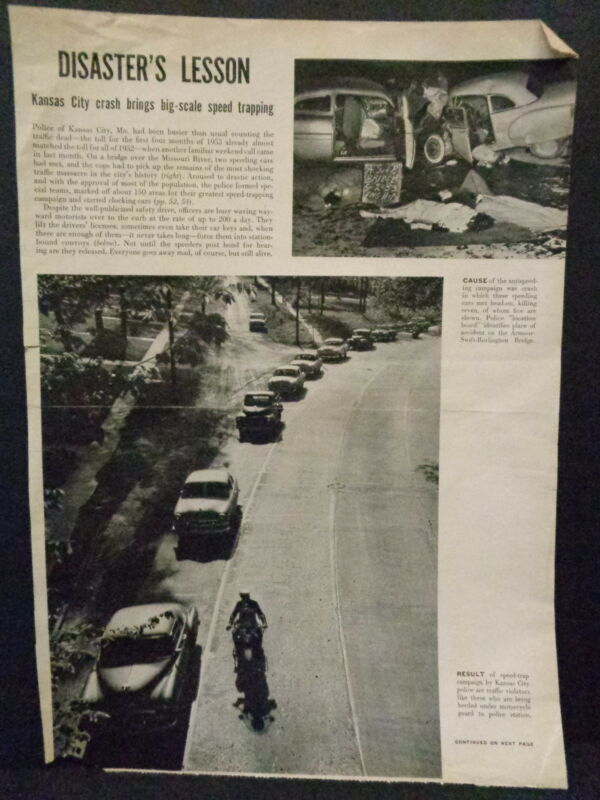 KANSAS CITY, MO POLICE DEPT LIFE MAGAZINE ARTICLE, 1953, FATAL WRECK, GRAPHIC