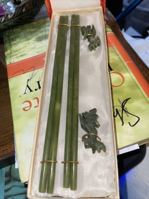 Antique Chinese Jade Chopsticks with Rabbit Shaped Rests (2 Pairs)