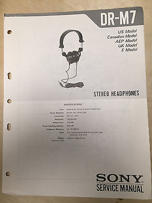 Sony Service Manual for the DR-M7 Headphones ~ Repair