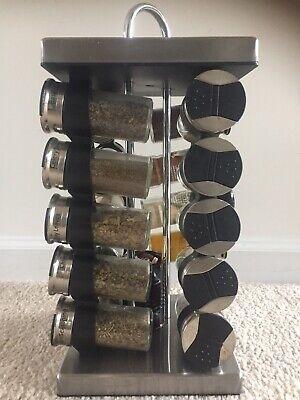 Spice rack Old Thompson Stainless Steel 20-Jar Revolving Spice Rack Without jars Olde Thompson Spice Jars