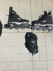 Rollerblades with knee pads