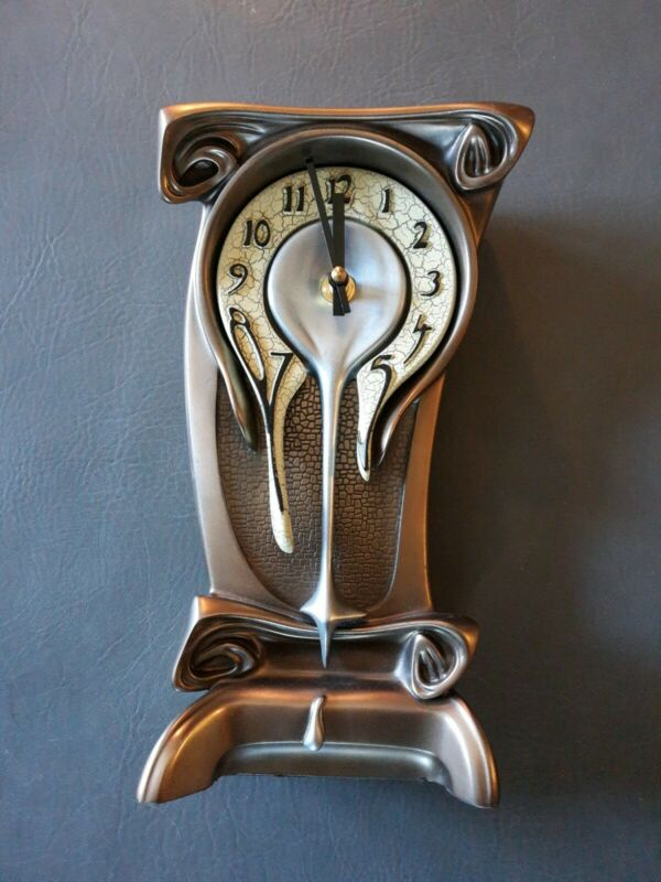 "Melting Table Mantle Desk Clock 10 1/2"" dali nightmare before christmas bronze"