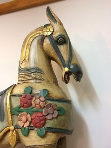 "Wooden Rocking Horse Handcarved and Handpainted 45""talk Kingston Kingston Area image 4"