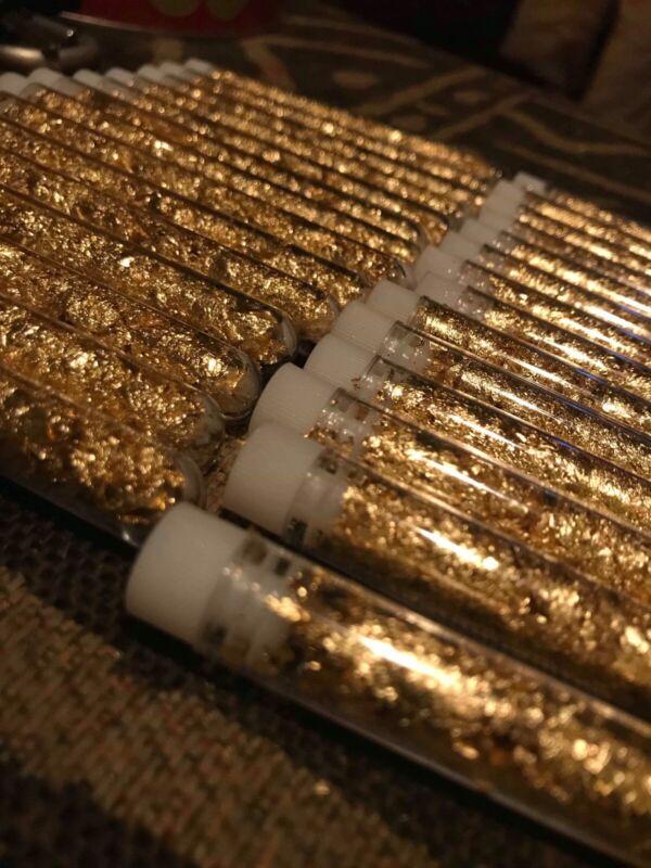 1 Tube Of Top Quality Alaskan Gold Leaf Flakes 22-24k (long Tube)