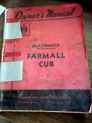 Mccormick Farmall Cub Tractor Owners Operators Manual