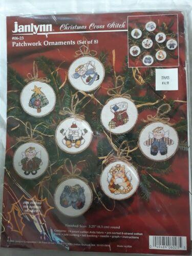 Janlynn Christmas Cross Stitch Patchwork Ornaments Set of 8