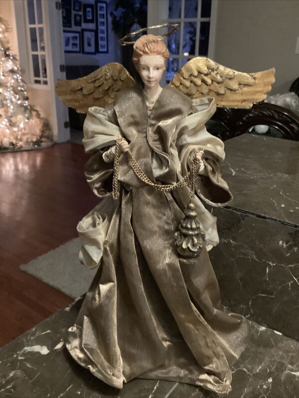 """Christmas Angel Tree Topper Beautiful Renaissance Copper And Gold 13"""""""