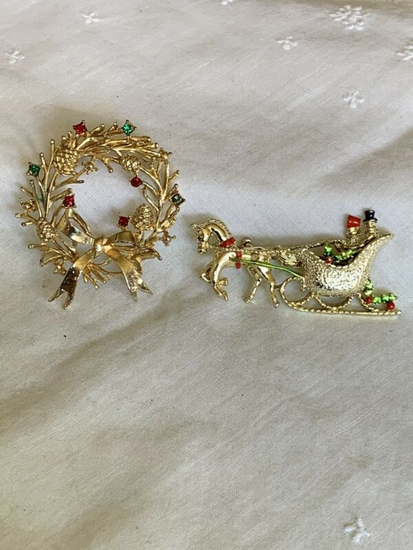 Vintage 2 Christmas Holiday Brooch Pins JH-57