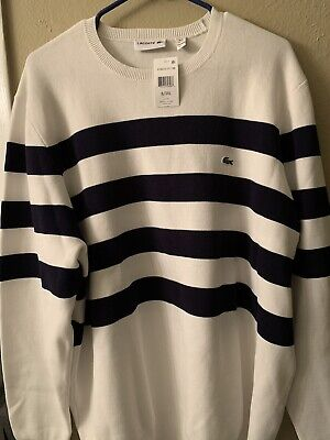 Lacoste Men's Striped Pullover Sweater Size 8 -3XL