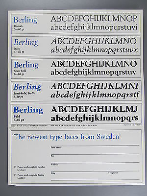 Type Specimen of Berling and Carolus, Castcraft
