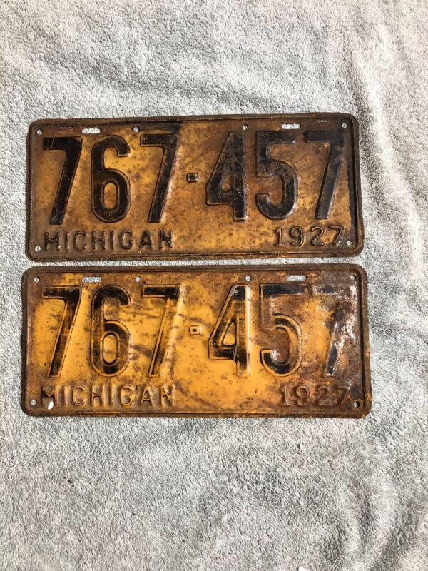 1927 Michigan License Plate Pair 767-457