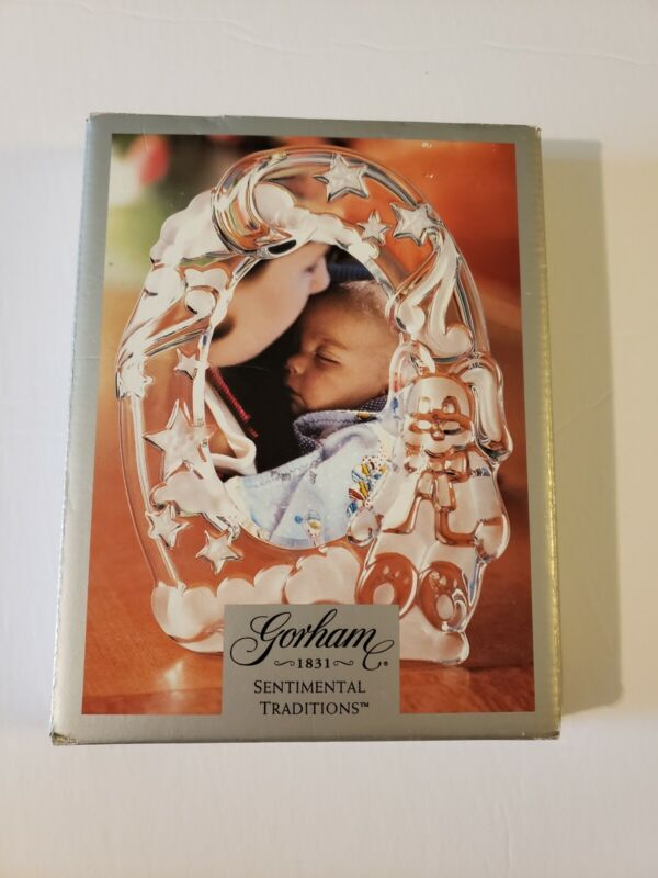 Gorham Crystal Baby Picture Frame, frosted with moon, stars, clouds and rabbit