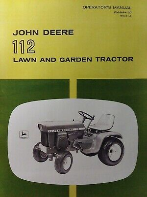 John Deere 112 Lawn Garden Tractor 1969 Owner Parts 2 Manual S Sn 250001-up