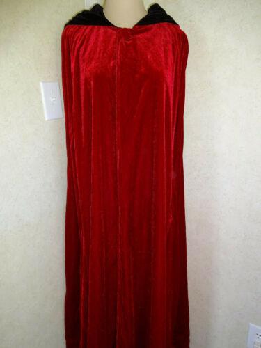 Womens Reversible Cape Cloak Hood M L XL Red Black Velvet Steampunk Cosplay Goth