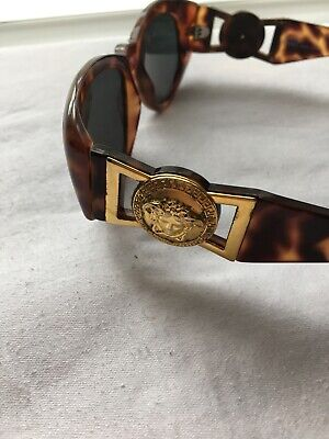 vintage Versace sunglasses - gold tone trims - with original case wraparound