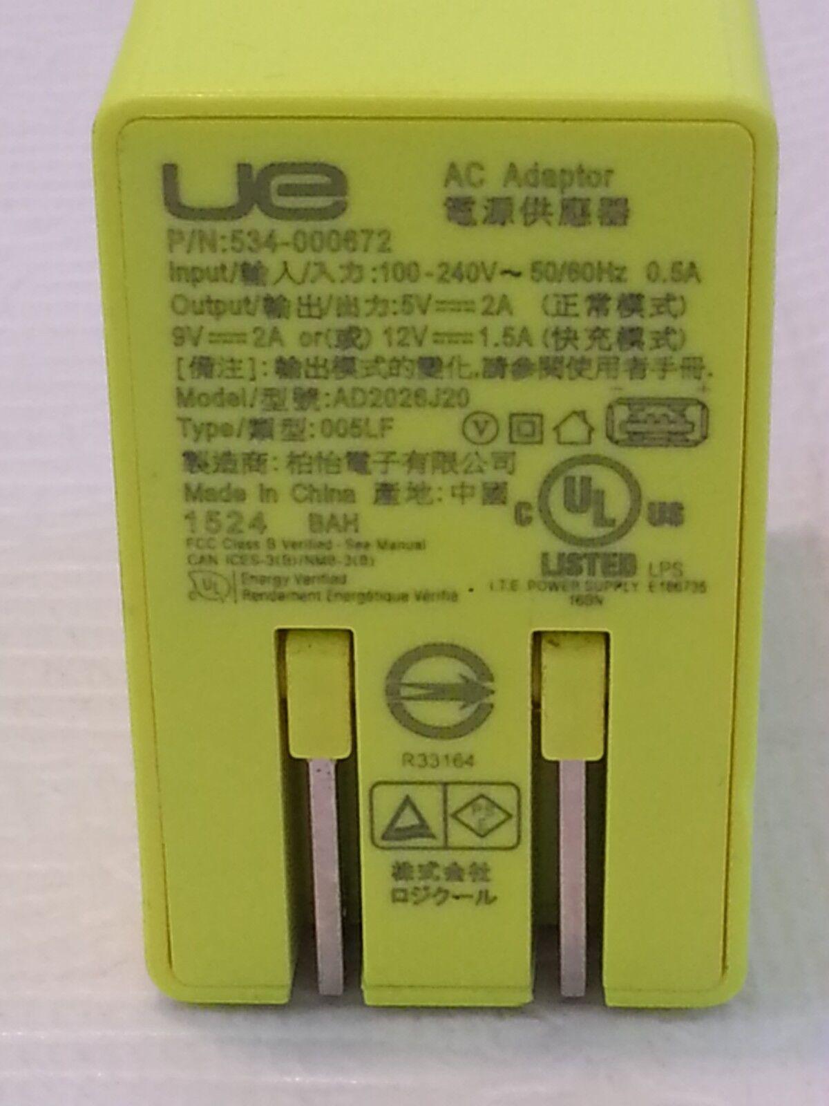 LOGITECH Ultimate Ears UE Megaboom AC Adapter 5V 2A USB Char
