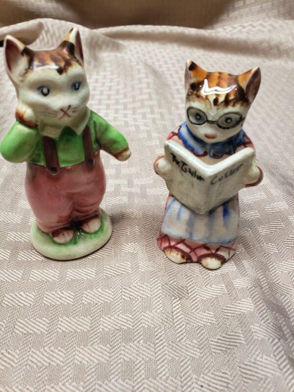 Cute Vintage Salt & Pepper Shakers Cat Japan Tailor Cutter Anthropomorphic
