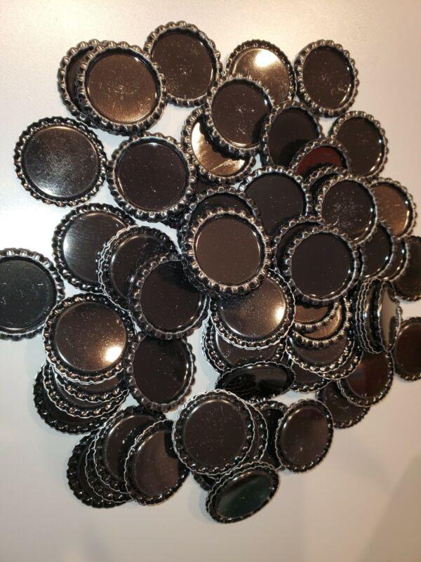 100 Pc Lot Black Flat Back Bottle Caps For Crafts Destash B10