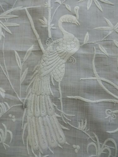 Antique Tenerife LINEN Lace Tablecloth Intricate PEACOCK Hand Embroidery 38X38