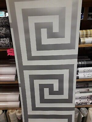 Debona Anthena White/Silver Glitter Greek key Wallpaper 4011