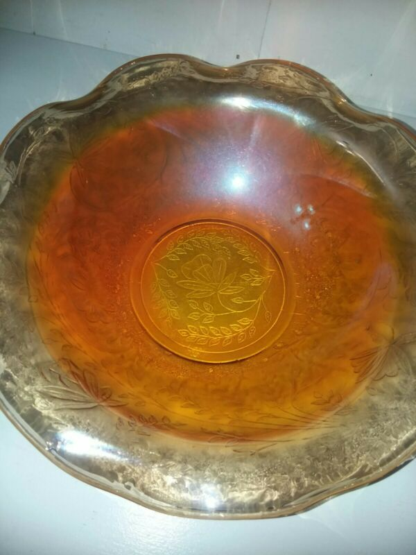 Vintage Orange Leaf Pattern Carnival Glass Scalloped Bowl