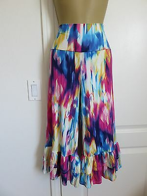 TIE DYE RUFFLED BELL BOTTOM BABYDOLL CROPPED CAPRI WIDE LEG PANTS PLUS 1X 2X  - Plus Size Bell Bottoms