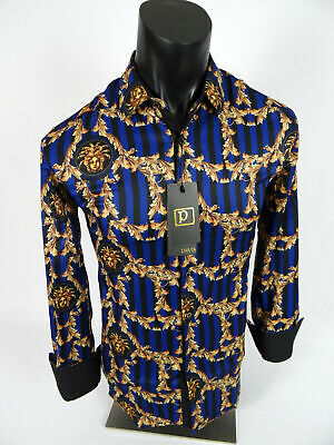 Mens Pavis Premier Shirt Black Blue Stripe Medusa Italian Stretch Slim Fit Blue Stripe Italian