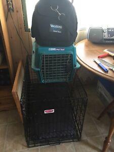 2 cages et 1 sac de transport pour animaux