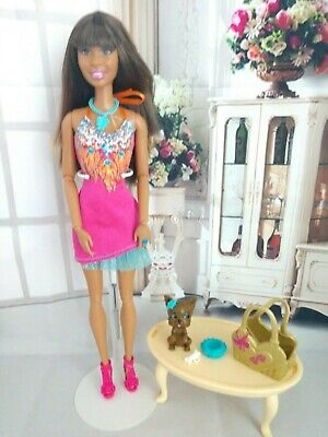 BARBIE DOLL GLAM STYLE LIFE IN THE DREAM HOUSE NIKKI WEARING PINK BOHO DRESS