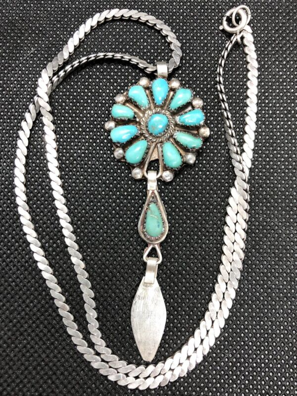 """Vintage Native American Sterling Silver Natural Turquoise Pendant On 20"""" Chain"""
