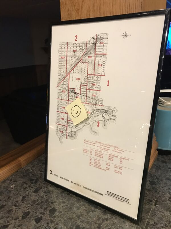 Vintage Chicago Police Grand Crossing 3rd District Beat Map