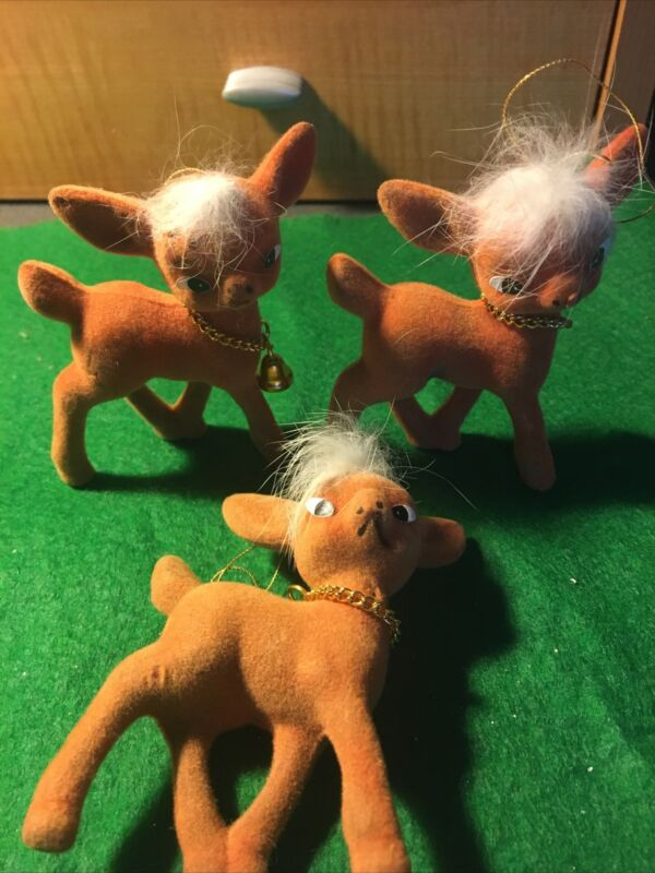 VINTAGE FLOCKED REINDEER WITH FUR AND CHAIN NECKLACES WITH BELL ORNAMENTS