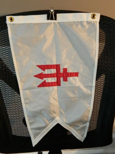 """Vintage Nautical Signal Flag White With Red Trident Boat Maritime  18"""" Dura-Lite"""