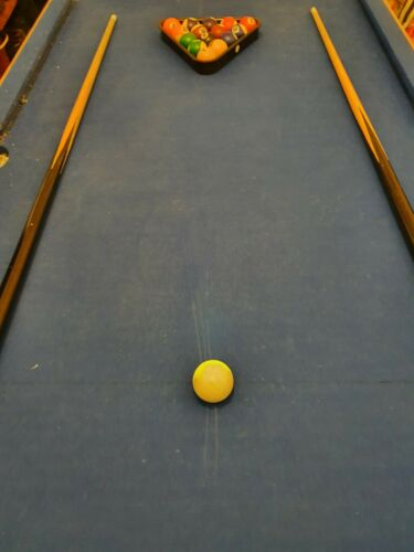 Foldable pool table, comes with cues, triangle, balls, chalks.