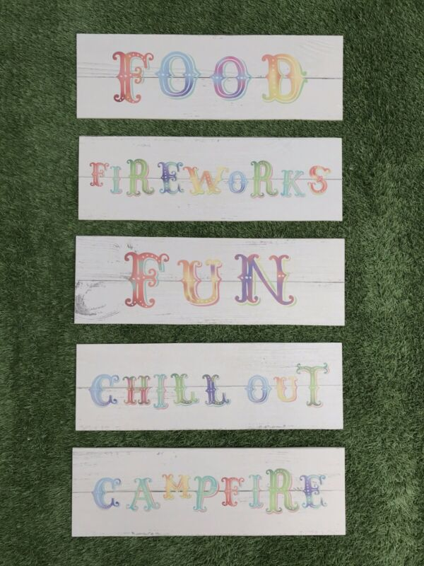 Job Lot Of 5x Circus Style Wedding Party Festival Event Signs REJECT SET 2
