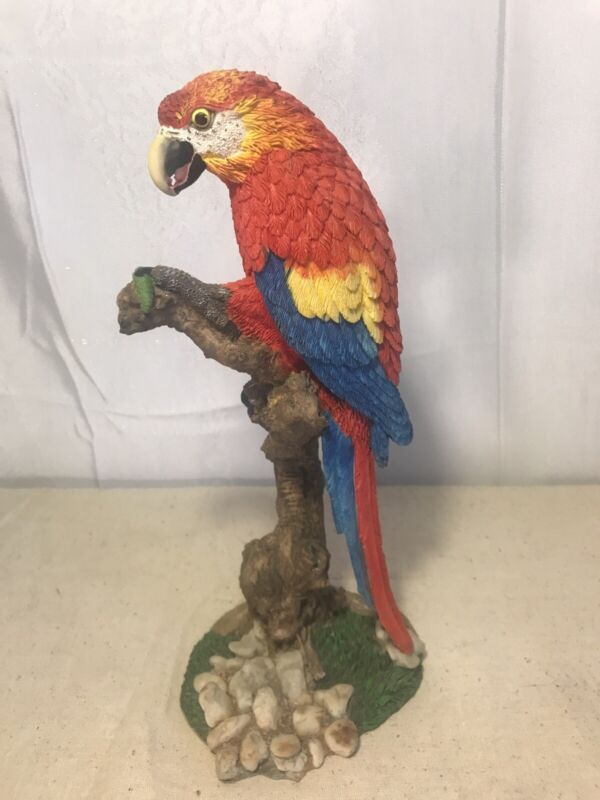 Tropical Rainforest Paradise Bird Scarlet Macaw Parrot Perching On Branch Resin