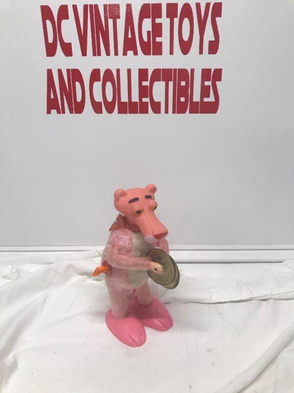 "Vintage ILLCO Wind Up PINK PANTHER Plays Symbals 9"" Toy Sways EUC Works!"