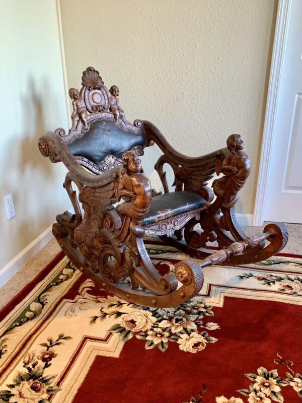 Luigi Frullini Carved Walnut Venetian Gondola Rocking Chair