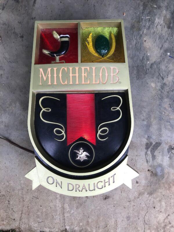 Vintage Michelob On Draught Lighted Bar Sign, Works!