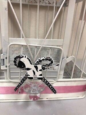 12 Little Safari Zebra Pacifier Necklace Baby Shower Favors  Games Decorations ](Zebra Baby Shower Decorations)