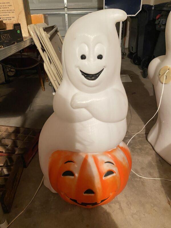 "Vintage Empire Ghost Sitting on Pumpkin Jack O Lantern Blow Mold 35"" Halloween"