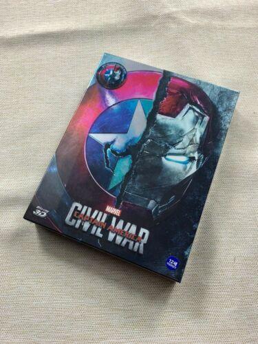 CAPTAIN AMERICA: CIVIL WAR BLU-RAY 3D STEELBOOK FULL SLIP A1 WEET, NEW/SEALED