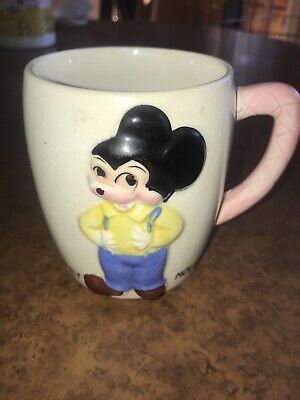 Vtg Mickey Mouse Mug by Walt Disney Productions Japan, Old Cup Raised Design