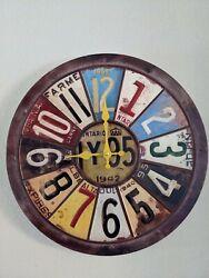 LICENSE PLATE CLOCK ~ RUSTIC ~  VINTAGE ~ 15.75 in round